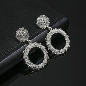 3/$20 Silver Geometric Dangle Statement Earrings